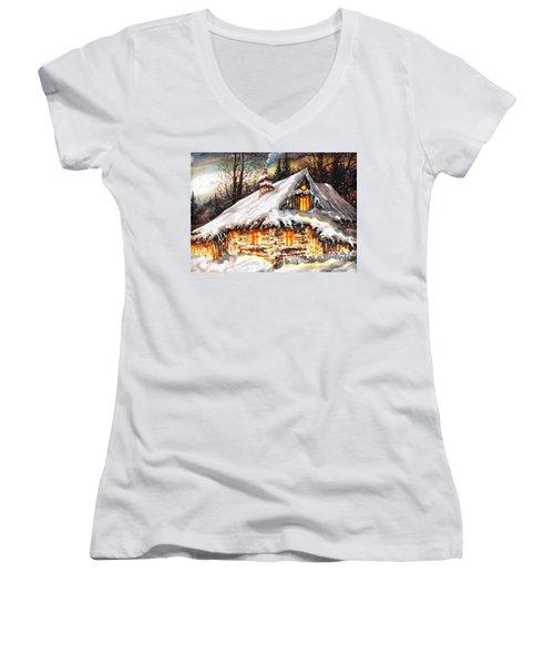 Winter Cottage Women's V-Neck T-Shirt