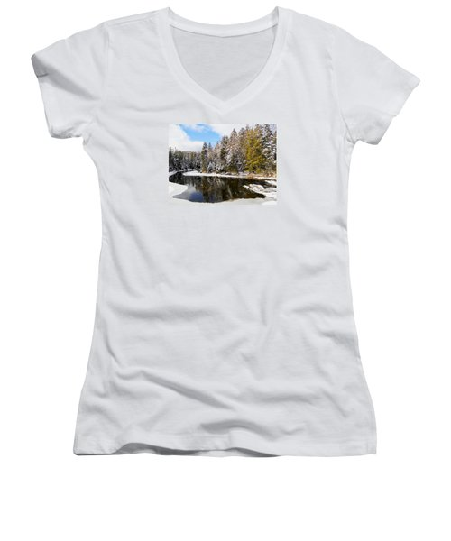 Women's V-Neck T-Shirt (Junior Cut) featuring the photograph Winter Impressions ... by Juergen Weiss