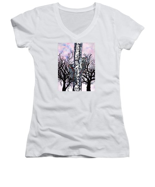 Women's V-Neck T-Shirt (Junior Cut) featuring the painting Winter In The Country by Connie Valasco