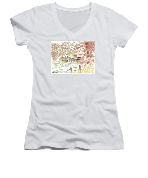 Winter In The Village Women's V-Neck (Athletic Fit)