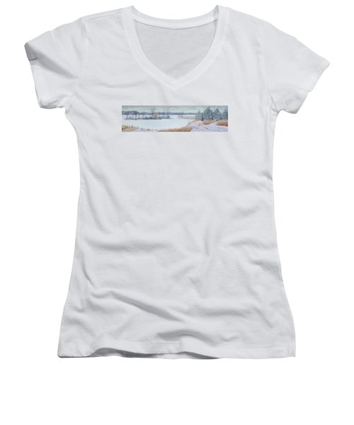 Winter Lake And Cedars Women's V-Neck (Athletic Fit)
