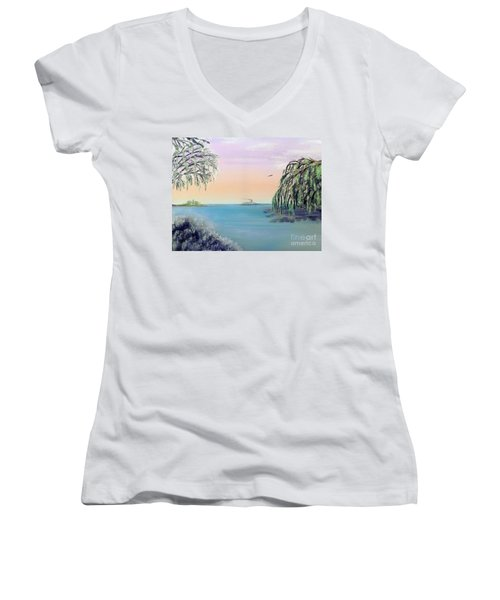 Winter On Lake Ponchartrain Women's V-Neck T-Shirt (Junior Cut) by Alys Caviness-Gober