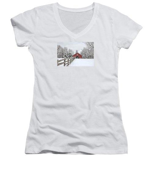 Winter On The Farm Women's V-Neck T-Shirt