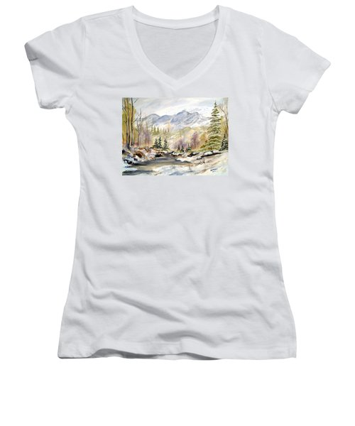 Winter On The River Women's V-Neck T-Shirt (Junior Cut) by Dorothy Maier