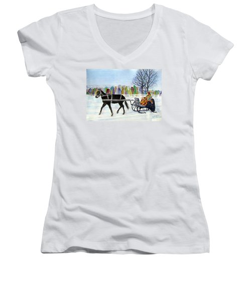 Women's V-Neck T-Shirt (Junior Cut) featuring the painting Winter Sleigh Ride by Carol Flagg