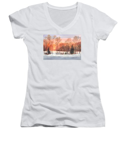 A Hedgerow Sunset Women's V-Neck T-Shirt (Junior Cut) by Carol Wisniewski