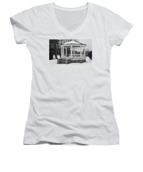 Women's V-Neck T-Shirt (Junior Cut) featuring the photograph Winter Time Gazebo by John Telfer
