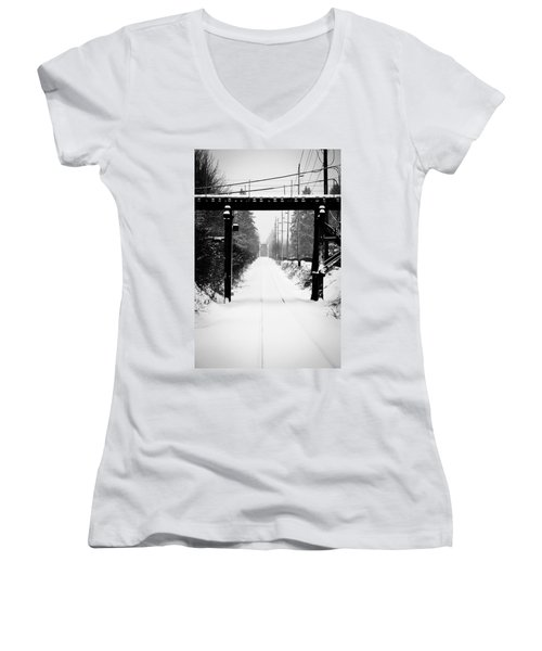 Aaron Berg Women's V-Neck T-Shirt (Junior Cut) featuring the photograph Winter Tracks by Aaron Berg
