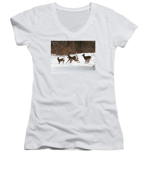 White Tailed Deer Winter Travel Women's V-Neck T-Shirt