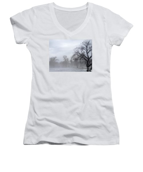 Women's V-Neck T-Shirt (Junior Cut) featuring the photograph Winter Trees With Mist by Jeannie Rhode