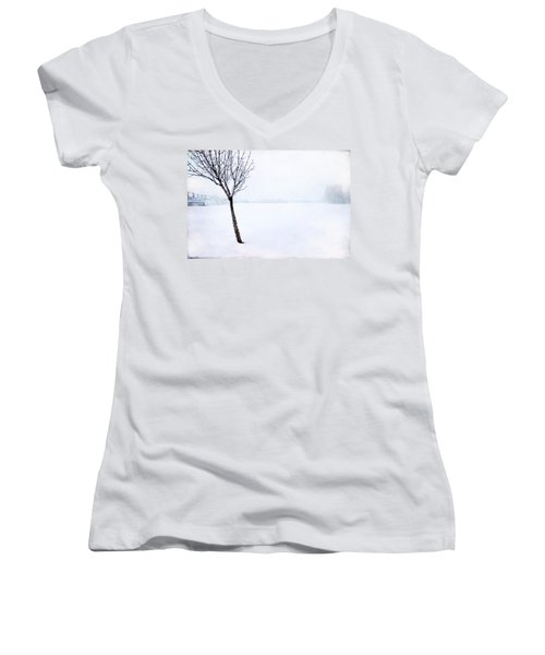 Winter Whiteout Women's V-Neck (Athletic Fit)