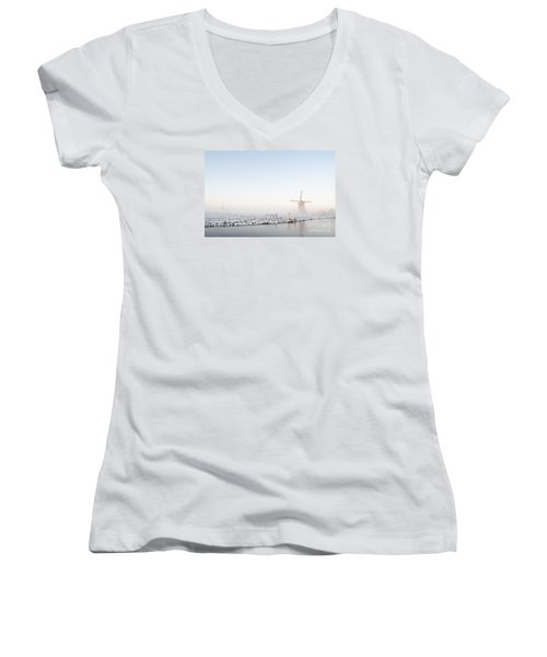 Winter Windmill Landscape In Holland Women's V-Neck T-Shirt