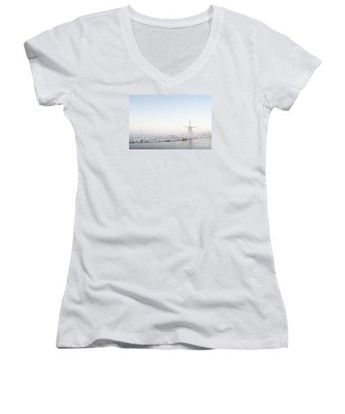 Winter Windmill Landscape In Holland Women's V-Neck T-Shirt