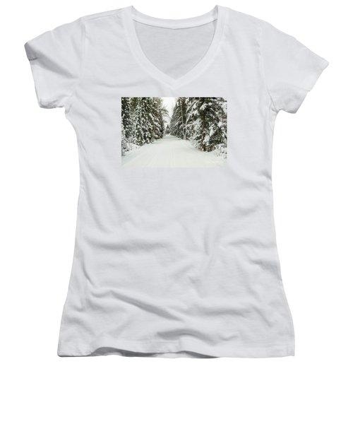 Women's V-Neck T-Shirt (Junior Cut) featuring the photograph Winter Wonder Land by Patrick Shupert