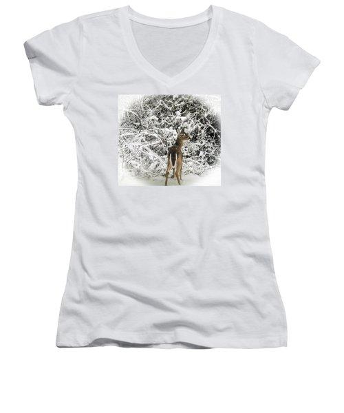 Winter Wonderland Women's V-Neck T-Shirt (Junior Cut) by Bruce Pritchett