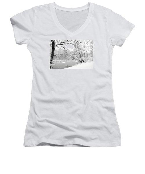 Winter Wonderland In Black And White Women's V-Neck T-Shirt