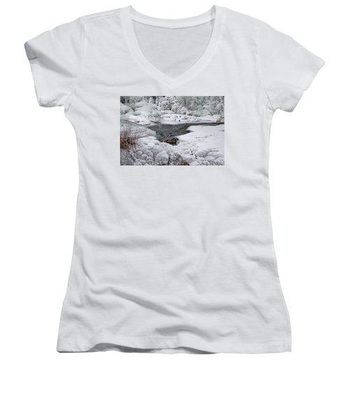 Vermillion Falls Winter Wonderland Women's V-Neck T-Shirt (Junior Cut) by Patti Deters