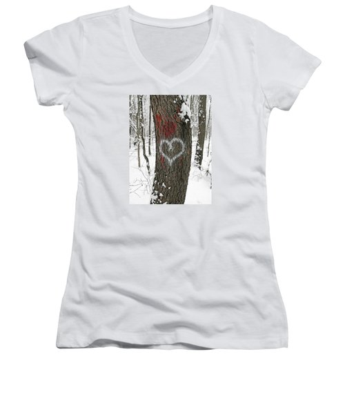 Winter Woods Romance Women's V-Neck T-Shirt (Junior Cut) by Ann Horn