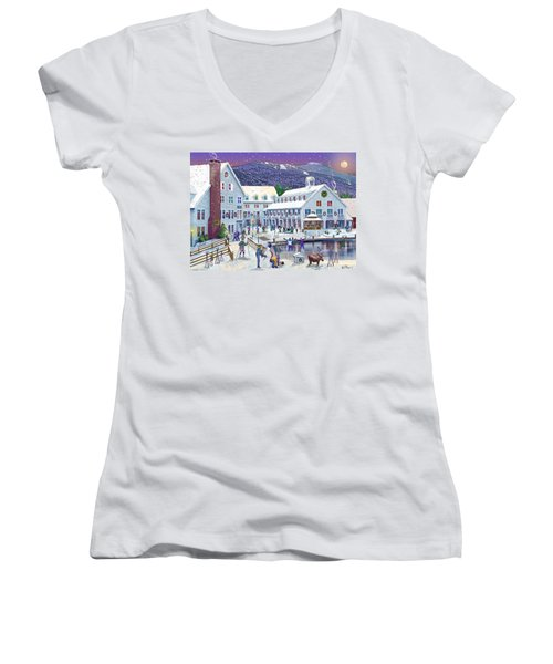 Wintertime At Waterville Valley New Hampshire Women's V-Neck T-Shirt (Junior Cut) by Nancy Griswold