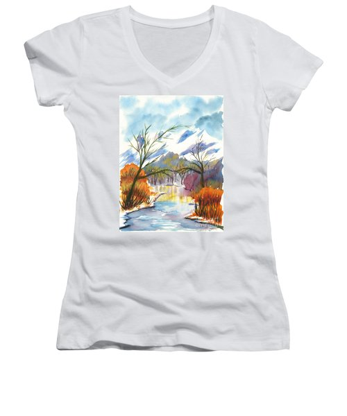 Wintry Reflections Women's V-Neck (Athletic Fit)