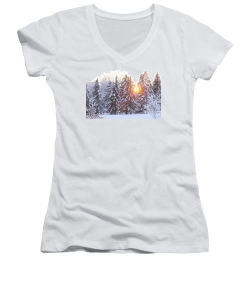 Wintry Sunset Women's V-Neck (Athletic Fit)