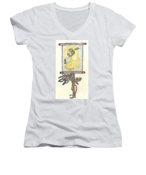Women's V-Neck T-Shirt (Junior Cut) featuring the drawing Wish And Tell by Kim Pate