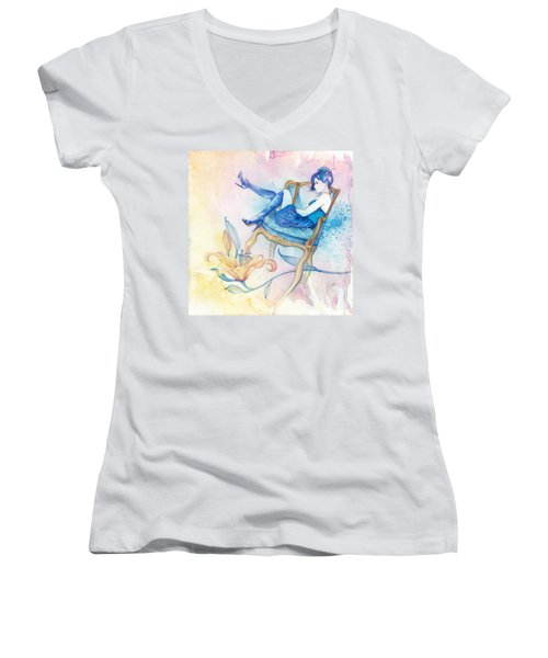With Head In The Clouds Women's V-Neck