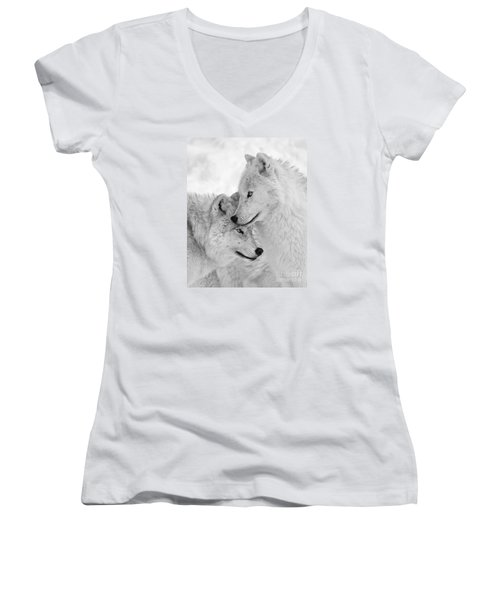 Wolf Love Black And White Women's V-Neck (Athletic Fit)