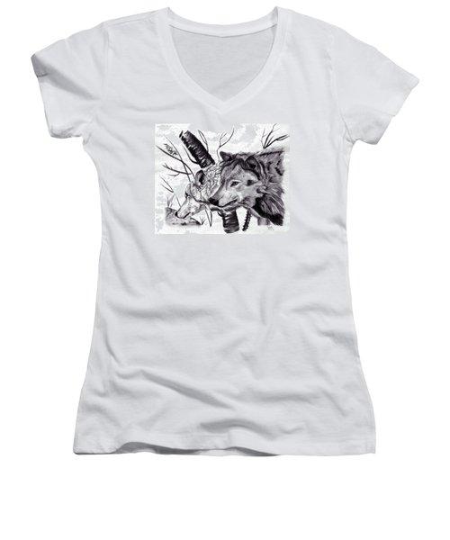 Women's V-Neck T-Shirt (Junior Cut) featuring the drawing Wolves by Mayhem Mediums