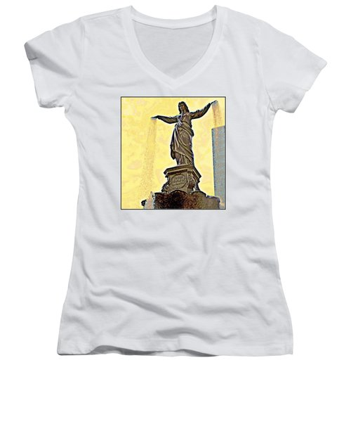 Woman And Flowing Water Sculpture At Fountain Square Women's V-Neck T-Shirt (Junior Cut) by Kathy Barney