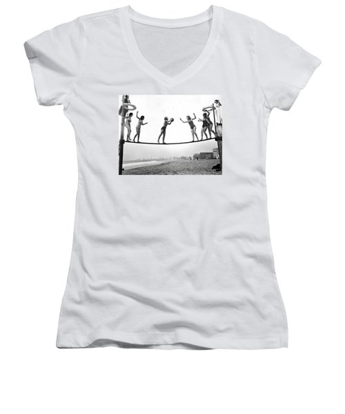 Women Play Beach Basketball Women's V-Neck T-Shirt (Junior Cut) by Underwood Archives