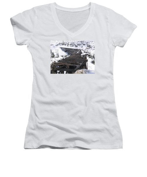 Wood Bridge Women's V-Neck T-Shirt (Junior Cut) by Brian Williamson