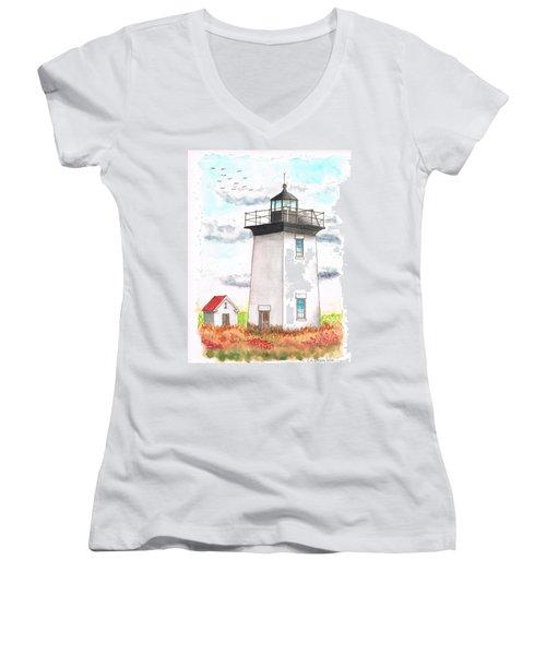 Wood End Lighthouse - Massachusetts Women's V-Neck T-Shirt (Junior Cut) by Carlos G Groppa