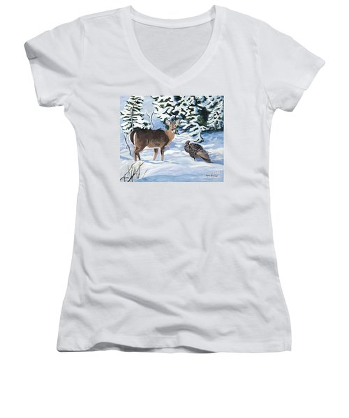 Woodland Creatures Meet Women's V-Neck