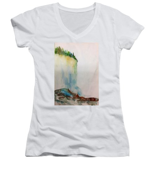 Woodland Trees On A Cliff Edge Women's V-Neck T-Shirt