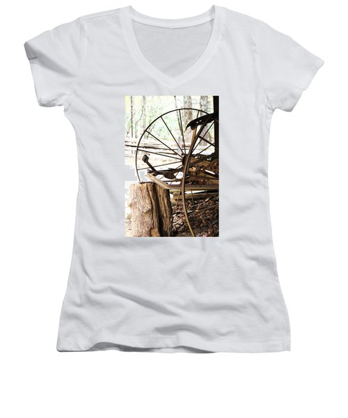 Women's V-Neck T-Shirt (Junior Cut) featuring the photograph Woody And Wheely by Faith Williams