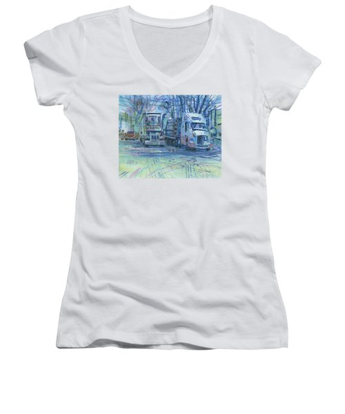 Women's V-Neck T-Shirt (Junior Cut) featuring the painting Work Buddies by Donald Maier