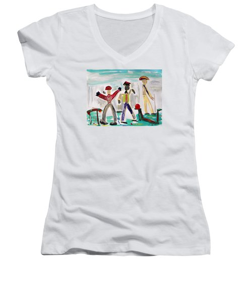 Working Women's V-Neck T-Shirt (Junior Cut) by Mary Carol Williams