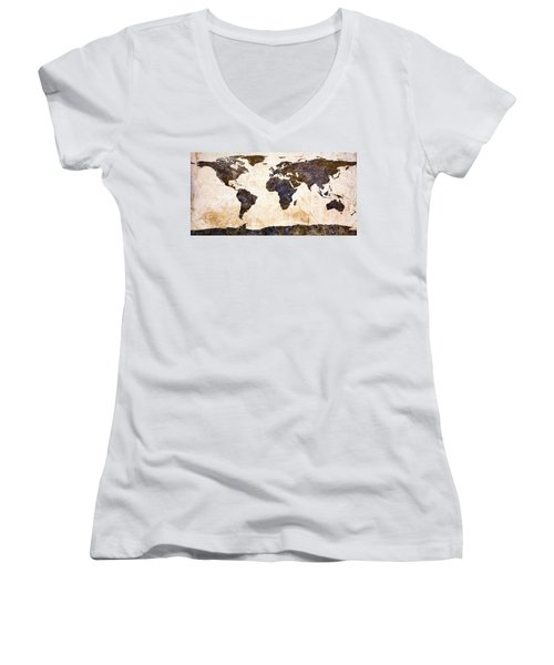 World Map Abstract Women's V-Neck (Athletic Fit)