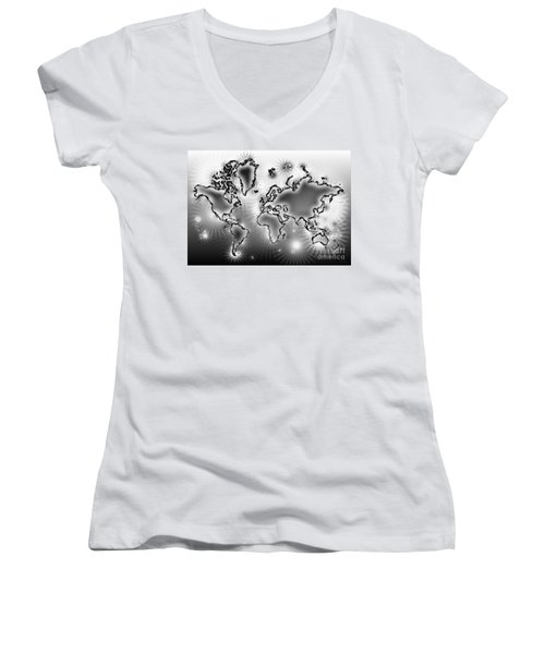 World Map Amuza In Black And White Women's V-Neck T-Shirt (Junior Cut) by Eleven Corners