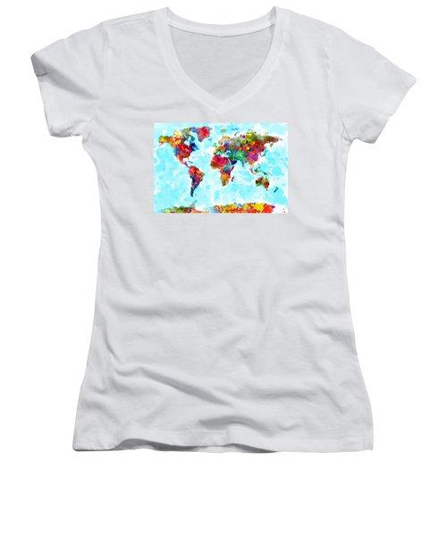 World Map Spattered Paint Women's V-Neck