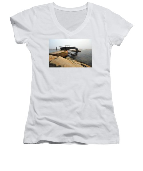 Women's V-Neck T-Shirt (Junior Cut) featuring the photograph World's End 3 by Randi Grace Nilsberg