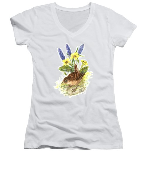 Wren In Primroses  Women's V-Neck T-Shirt