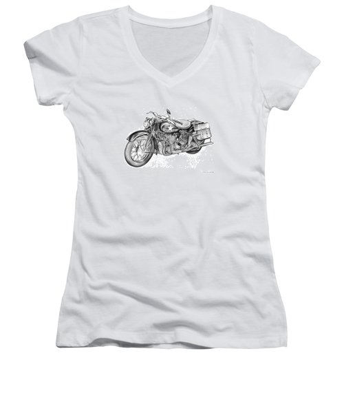 Ww2 Military Motorcycle Women's V-Neck (Athletic Fit)