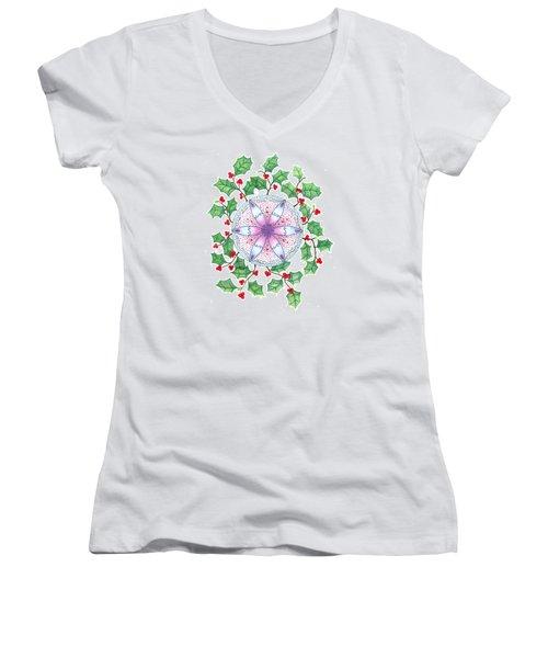 X'mas Wreath Women's V-Neck T-Shirt (Junior Cut) by Keiko Katsuta