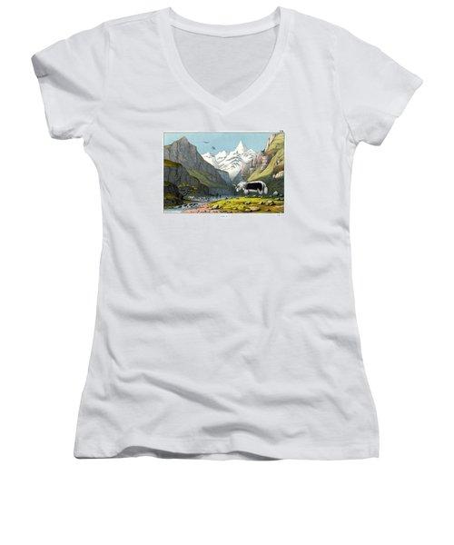 Yak Women's V-Neck T-Shirt (Junior Cut) by Splendid Art Prints