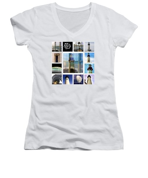 Yaquina Head Lighthouse Essence  Women's V-Neck T-Shirt