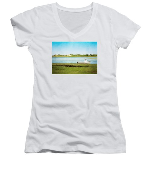 Women's V-Neck T-Shirt (Junior Cut) featuring the photograph Yarmouth Port Fishing Boat In Green And Blue by Brooke T Ryan