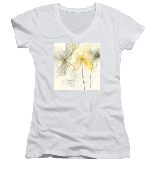 Yellow And Gray Flowers Impressionist Women's V-Neck T-Shirt