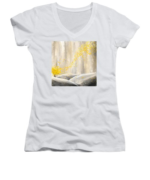 Yellow And Gray Landscape Women's V-Neck (Athletic Fit)